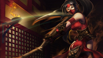 girl, gun, league of legends, akali, topor, povyazka, dvighenie