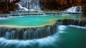 louangxi waterfall, louangphabang, laos, nature, waterfall
