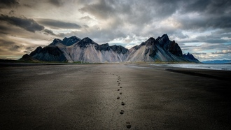mountains, clouds, iceland, �����, ����, �����, ����, ����, voclanic beach
