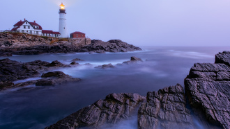 portland head light, ape elizabeth, maine, lighthouse, ���������, ����� ����, �������, ����, �����