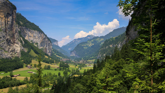 lauterbrunnen, switzerland, горы, лес, сосна, природа