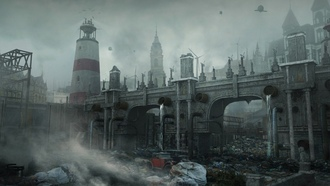 science fiction, digital art, lighthouse, ruin, apocalyptic, gloomy, urban, bridge