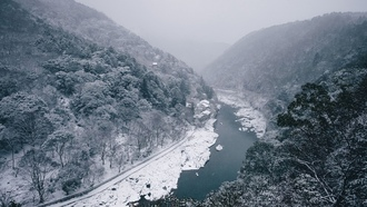 nature, landscape, river, winter, mountains, forest, snow, trees
