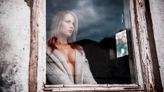 women, sweater, window, cleavage, big boobs, model, blonde