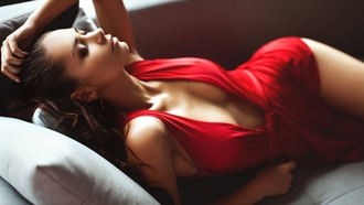 women, model, red dress, walls, couch, closed, eyes, helga lovekaty