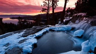 nature, landscape, hills snow, winter, lake, clouds, sunset, water, reflection, trees