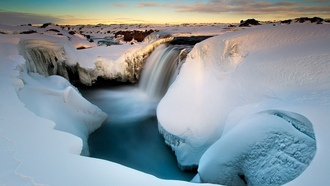winter, snow, water, ice, landscape, long exposure, waterfall