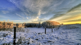 winter, landscape, snow, clouds, nature, fence