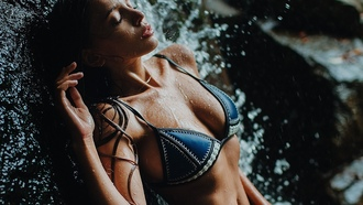 women, brunette, tanned, wet, bikini, sideboob, closed, eyes, wet body, wet, hair, waterfall, juicy, lips, cleavage, evgeny freyer