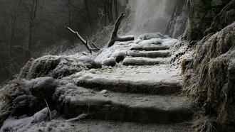 landscape, nature, winter, waterfall, germany, stairs, frost, trees, ice, cold