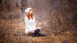�������, women, outdoors, redhead, depth of field, ������� ������, white, clothing, �������� ������