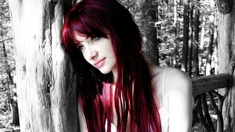 susan coffey, readhead, model, девушки, зеленые глаза, selective coloring