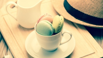 �������, ������, �������, ���, �����, macaron, almond, cookies, dessert, sweet, colorful, coffee, cup