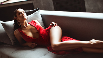 red, dress, girl, tits, legs, beautifull, brunette, eye, lips, slips, pretty, face, smyle
