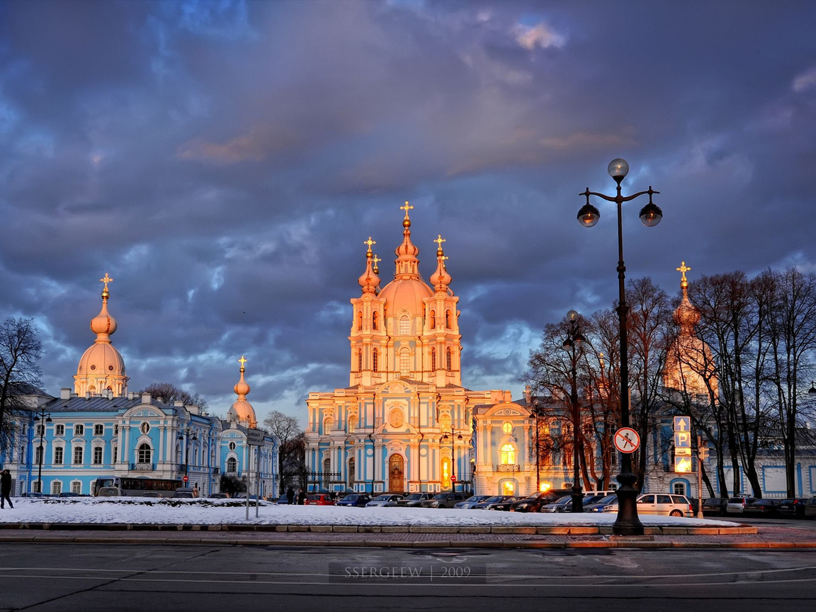 фонарь, деревья, санкт-петербург, Смольный собор