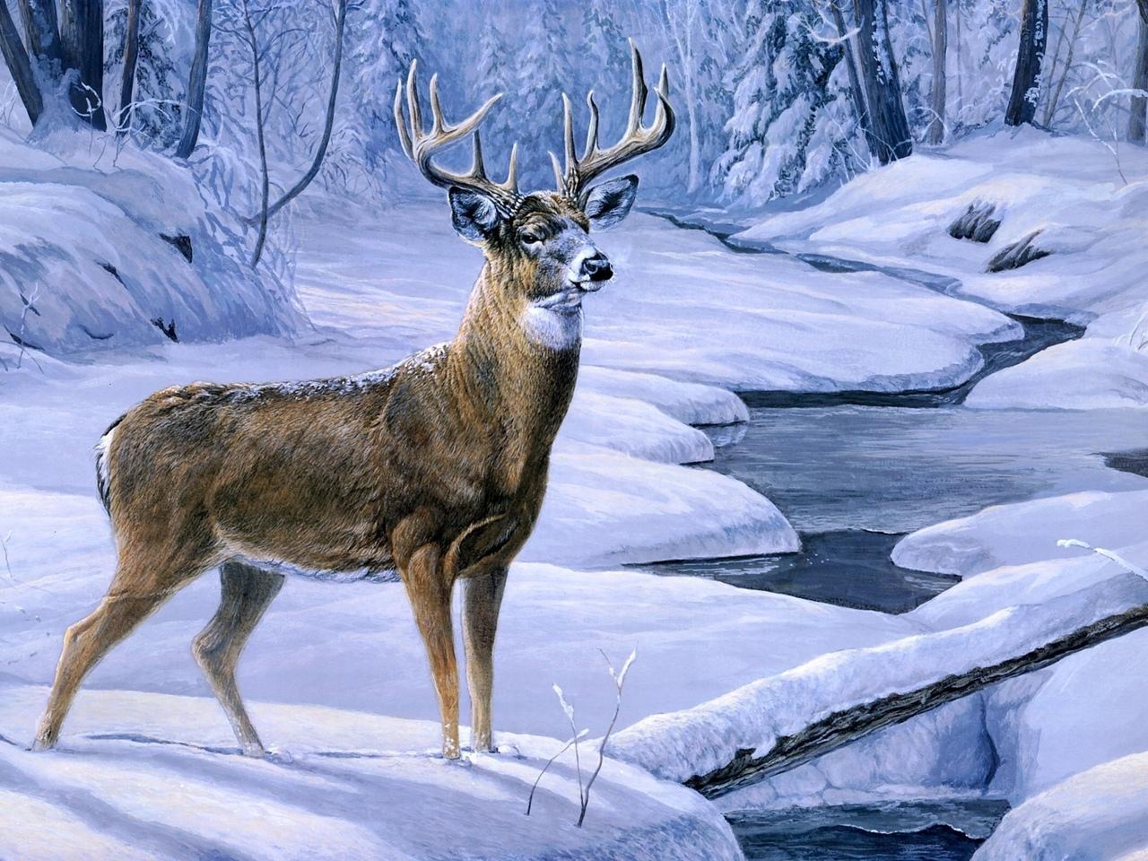 Обои зима обои олень обои живопись