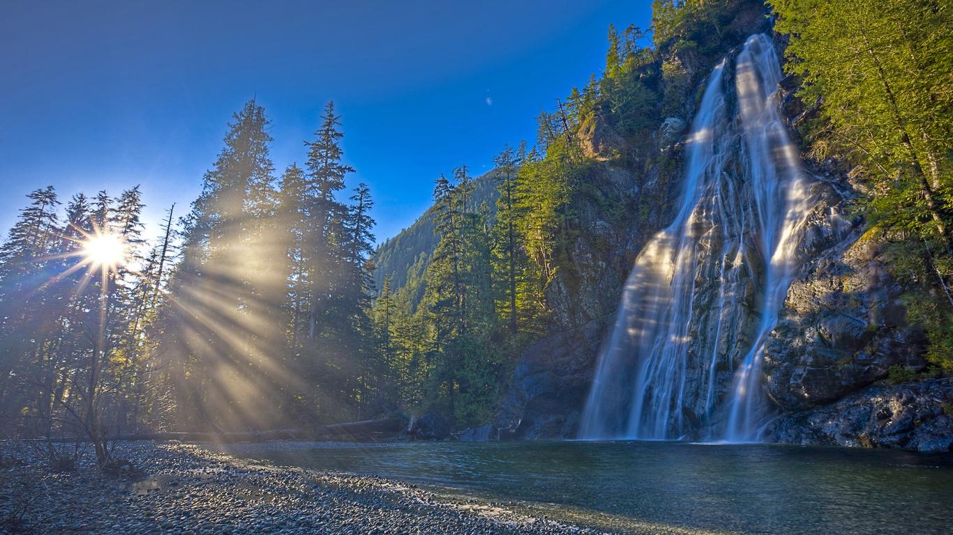 Солнце природа лес канада водопад