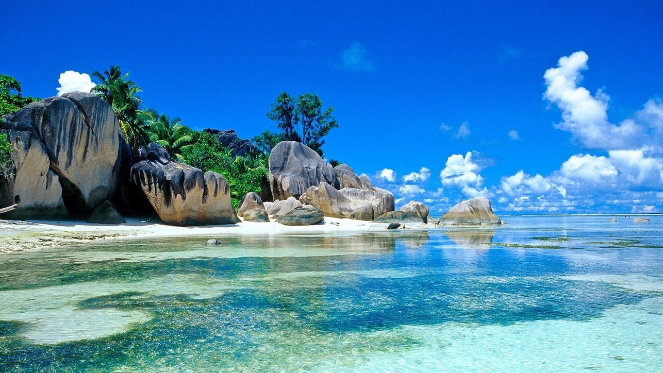 Море тропики пальмы сейшелы обои для