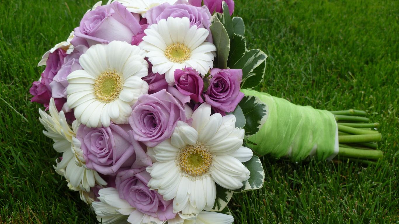 Картинка герберы свадьба букет розы