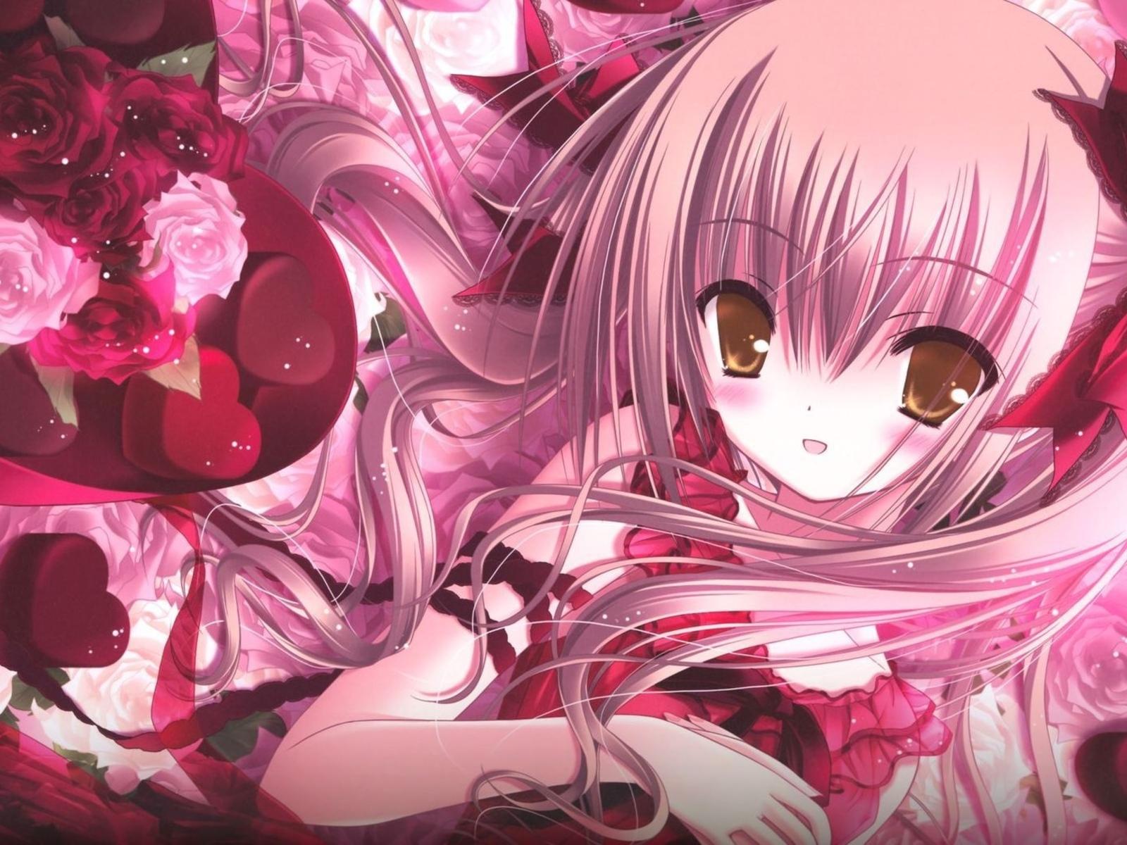 Девушка волосы конфеты розы бантик