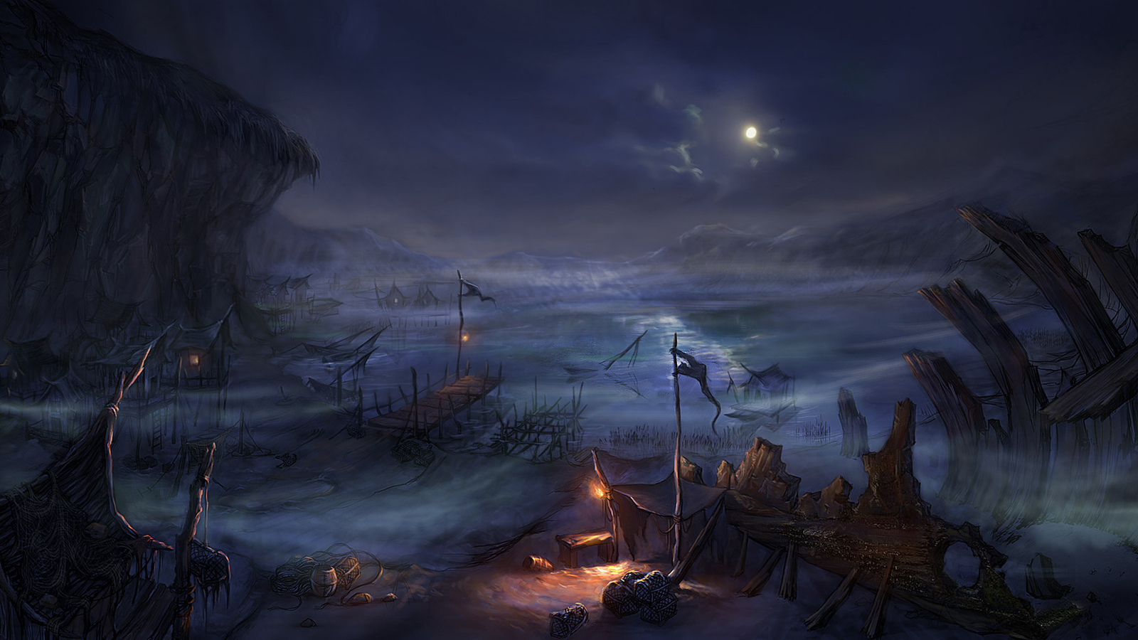 деревни, дома, пожар уничтожил судно, сеть передачи, лодки, озера, Ночь, луна