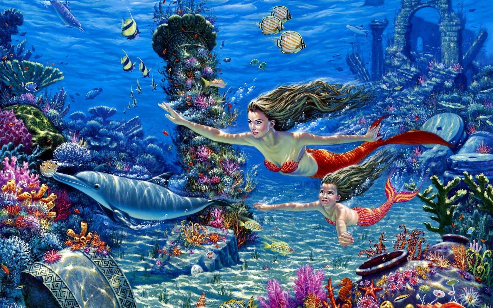 Рисунки подводных русалок