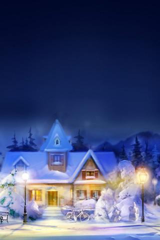 снег, Город, огни, ночь