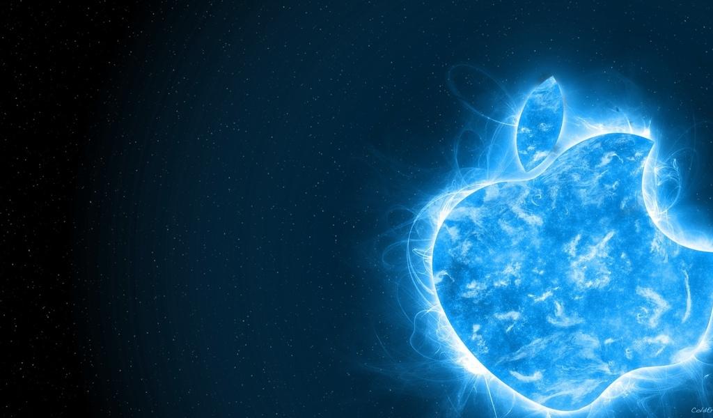 Hi tech яблоко aplle синий фон обои для