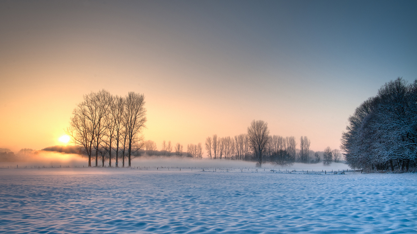 Небо снег деревья зима солнце обои