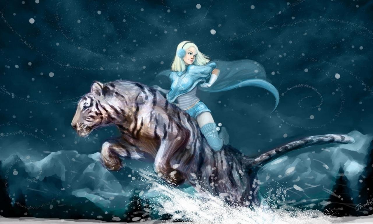 Девушка верхом на тигре снег обои для