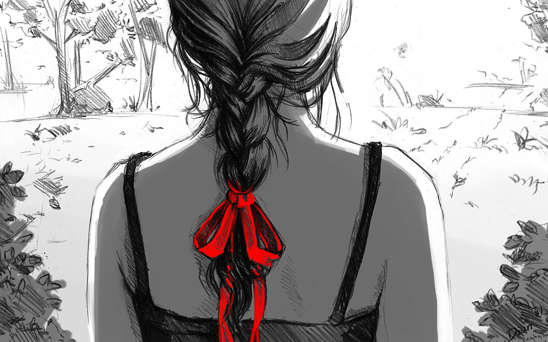 рисунок девушка спиной: