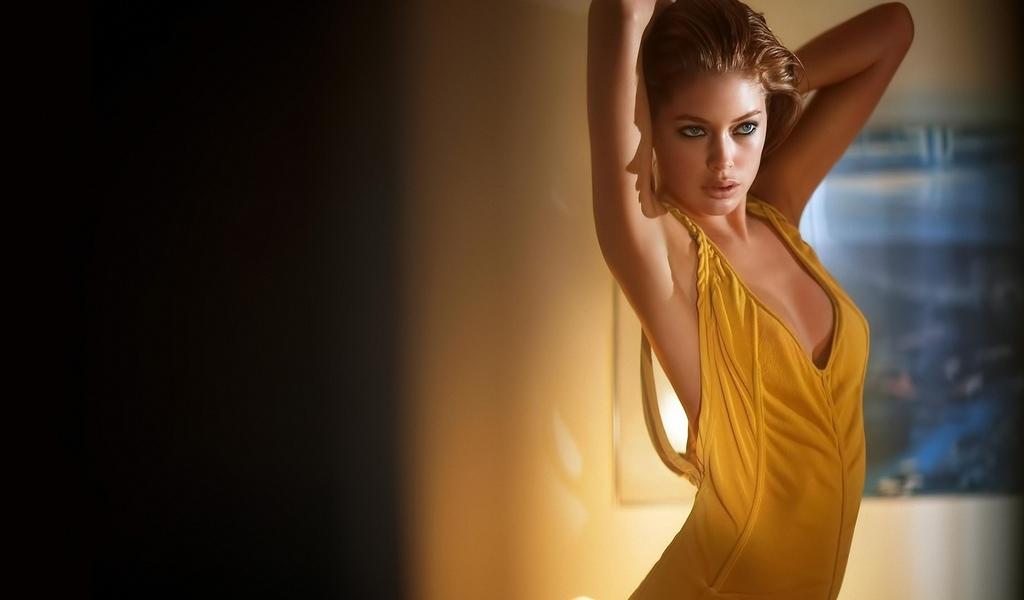 девушка, модель, позирует, в платье
