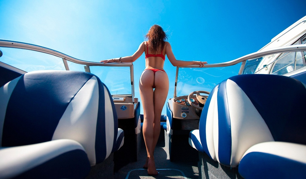 девушка, модель, позирует, в белье, на яхте