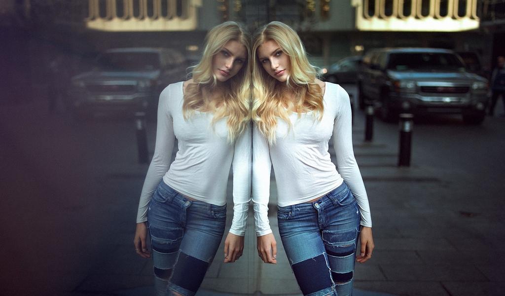 девушка, модель, позирует, отражение