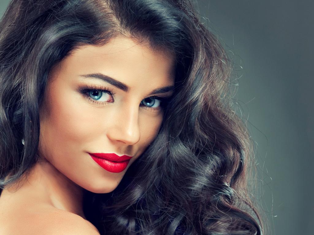 лицо, девушка, красивая, макияж, губы, волосы, глаза