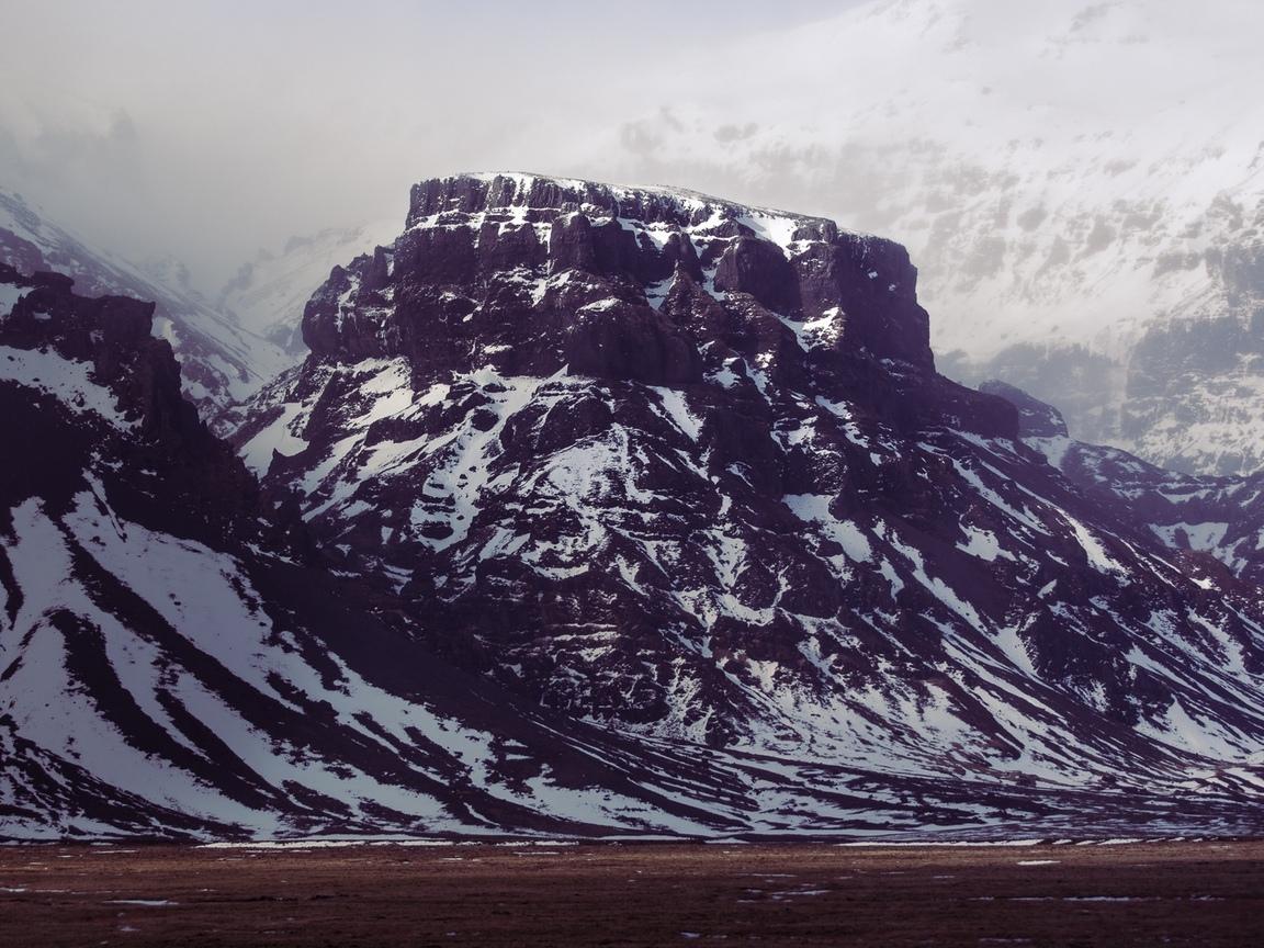 природа, горы, снег, небо, облака