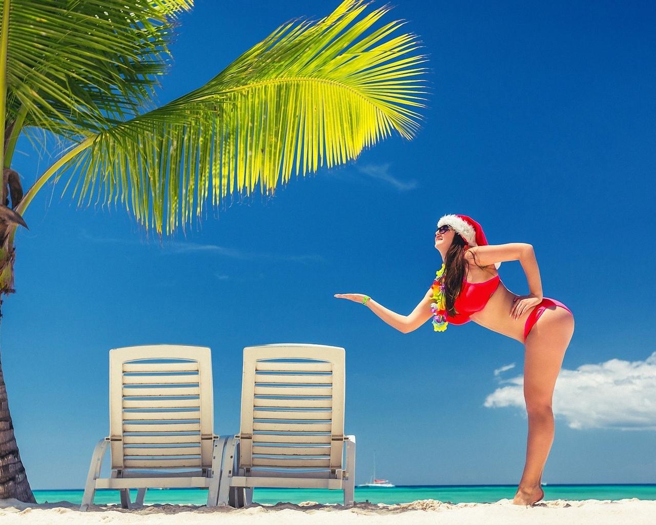 девушка, модель, позирует, в белье, снегурочка, тропики