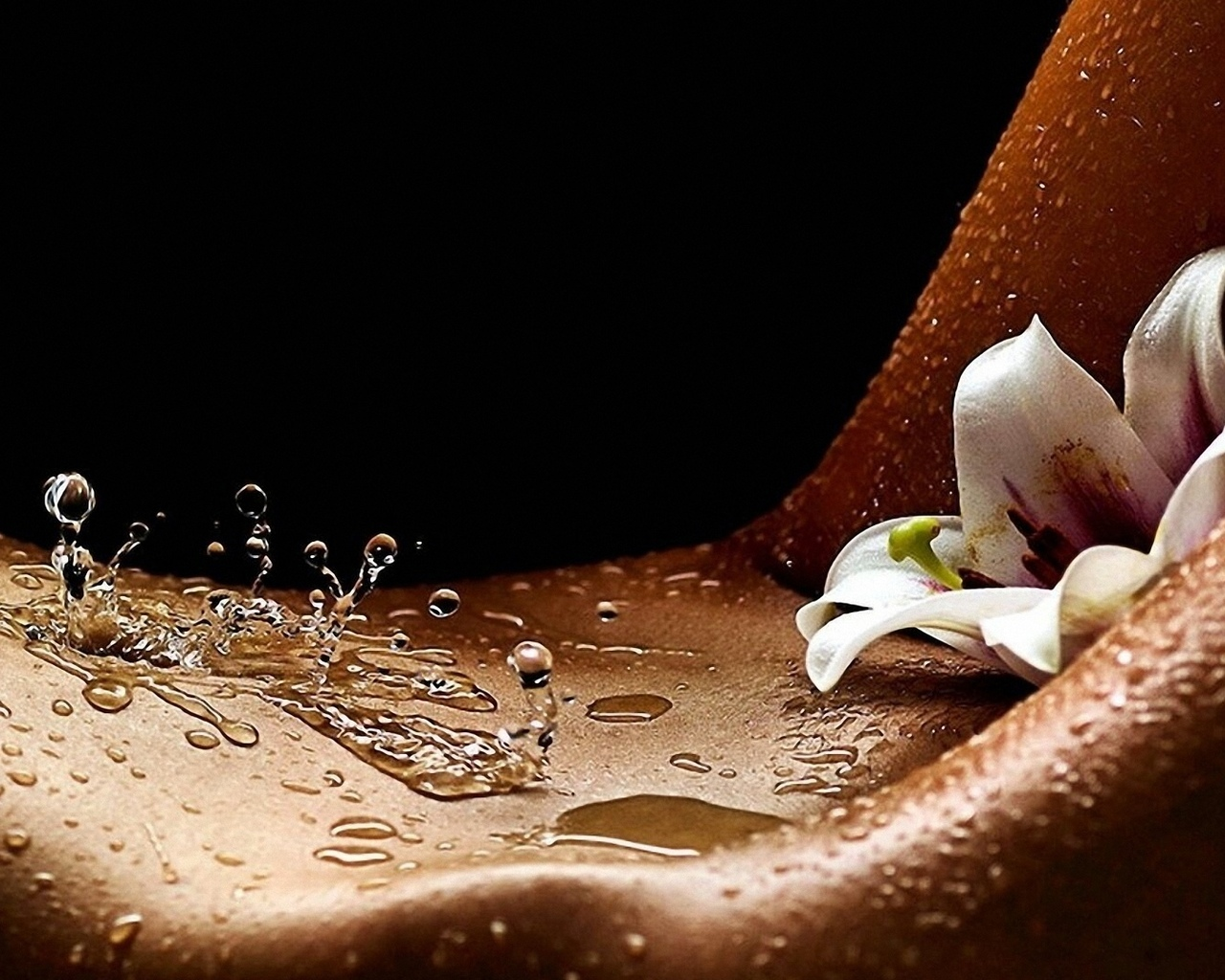 девушка, тело, капли, цветок, лобок