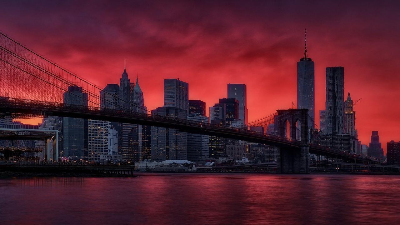 город, мост, небо, бруклин
