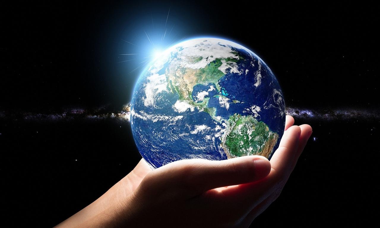 планета, земля, в руках, человека