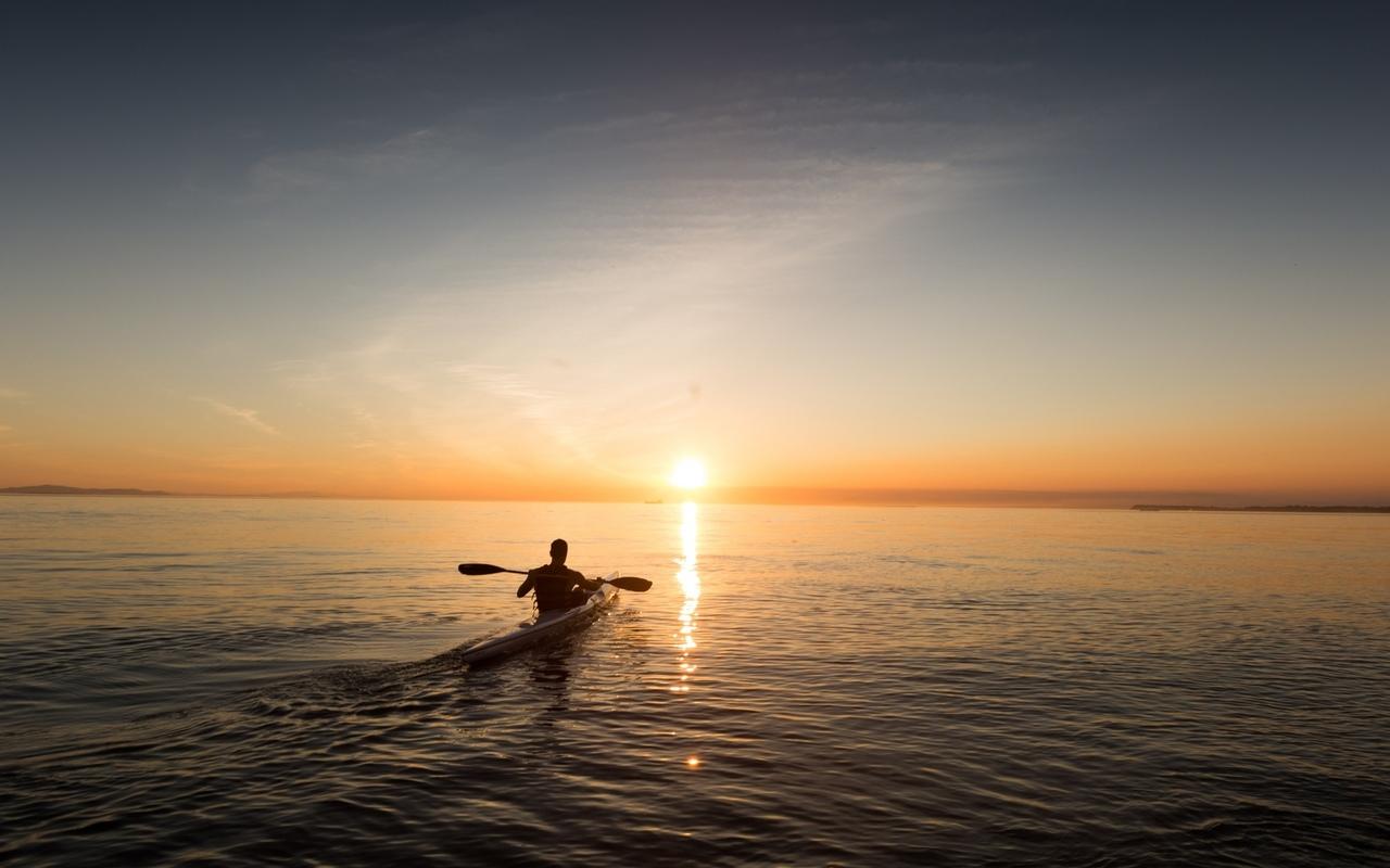 лоодка, горизонт, восход, человек, небо, море