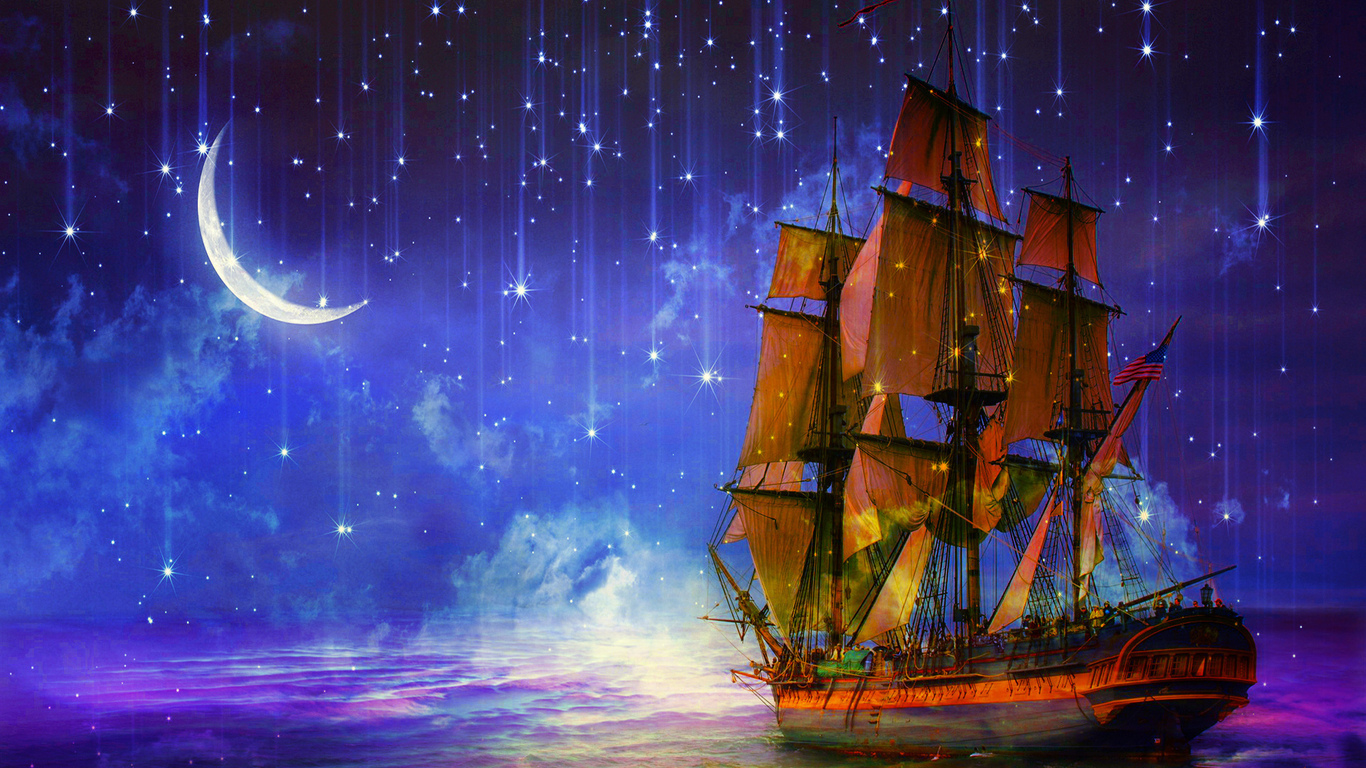 арт, корабль, ночь, звездопад