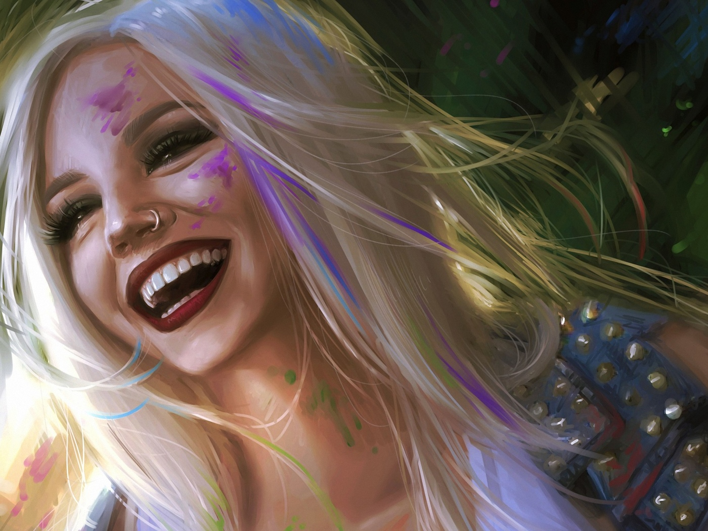 девушка, улыбка, раскрас, краска, позитив