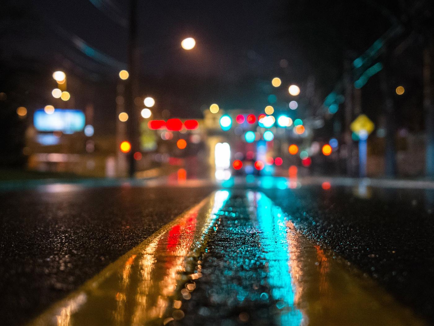 дорога, ночь, свет