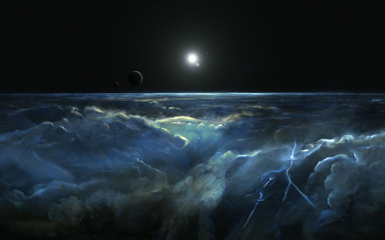космос, тучи, луна, молния