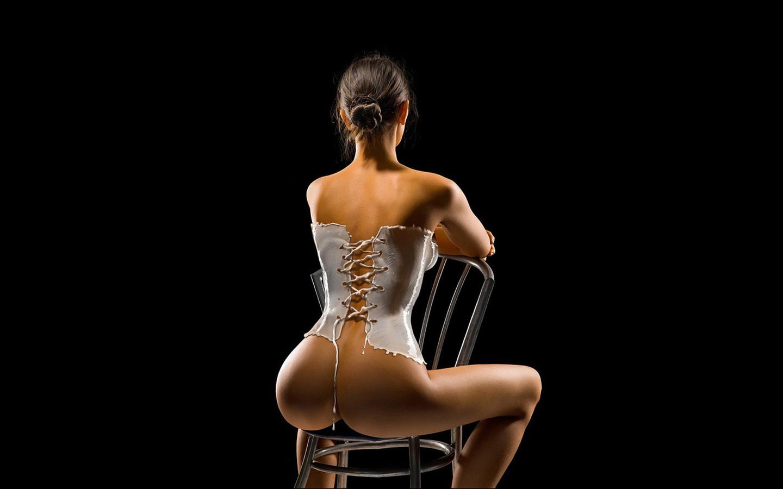 таинственная, девушка, на стуле