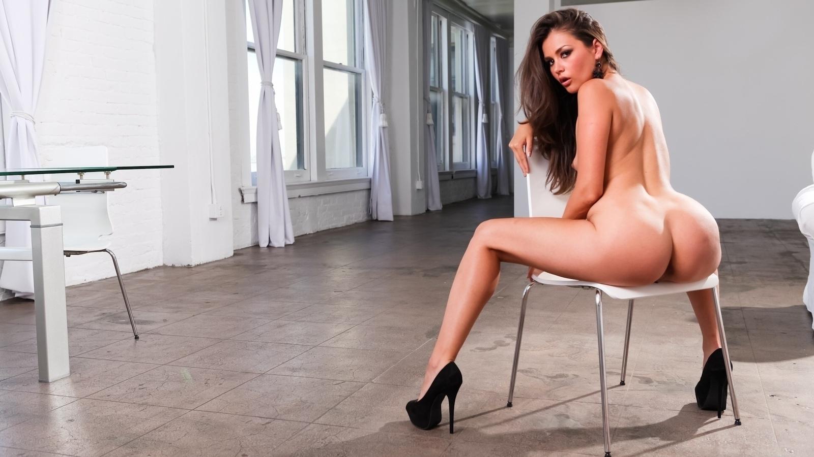 красотка, поза, стул, взгляд, сексуальная, эротика