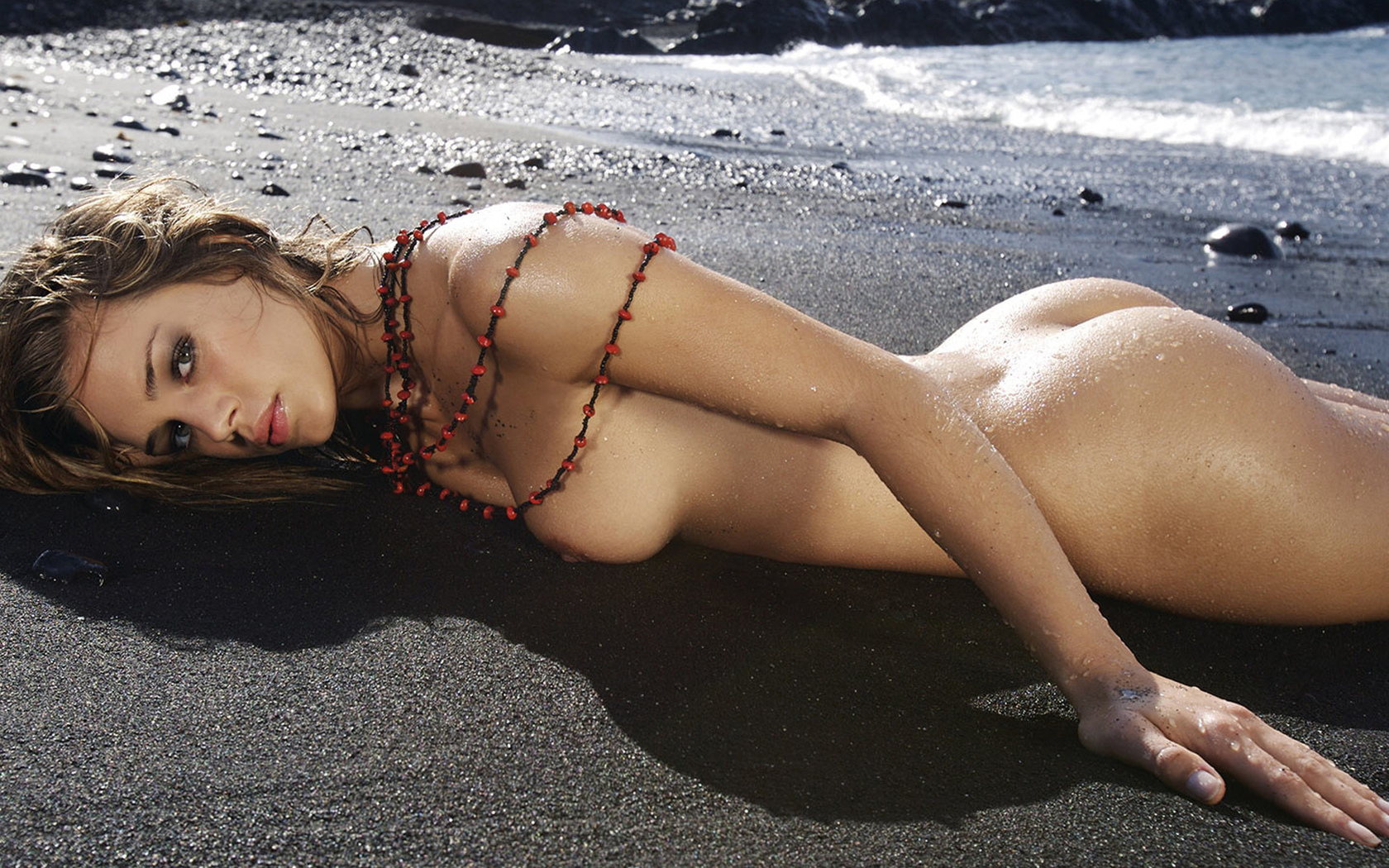 девушка, голая, красивая, грудь, пляж, лицо