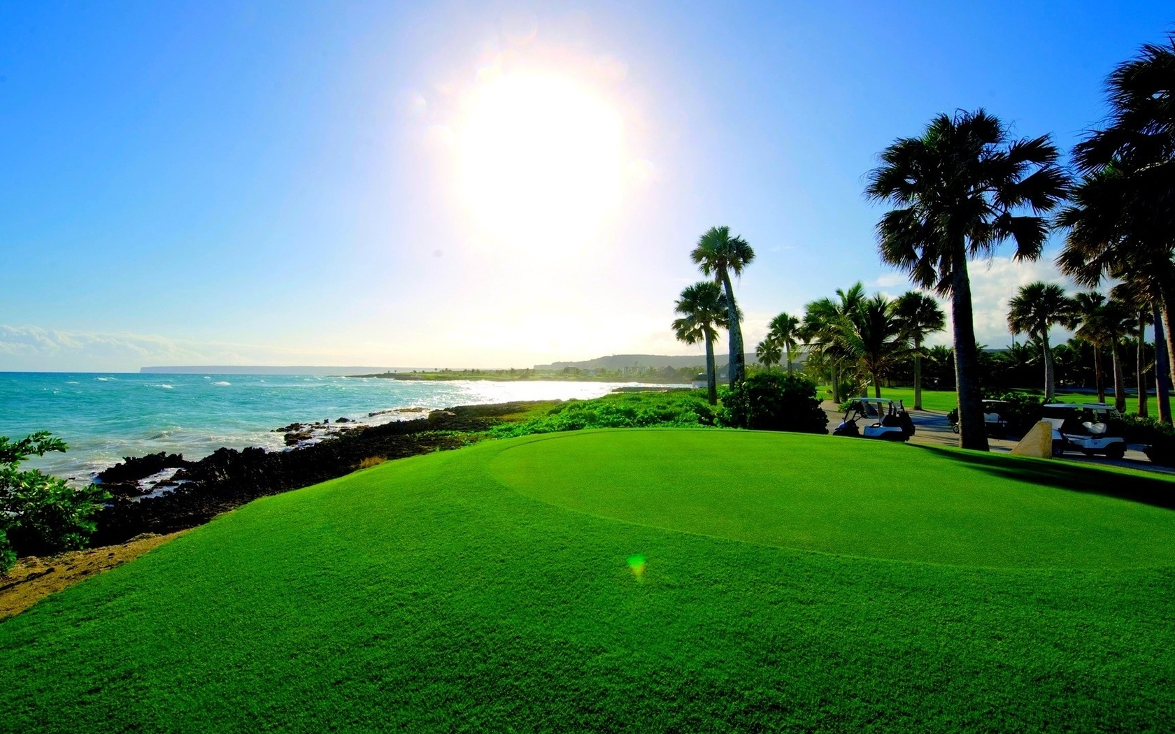 пейзаж, пальмы, море, тропики