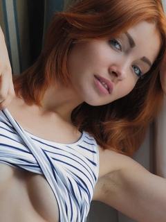 девушка, модель, взгляд, грудь